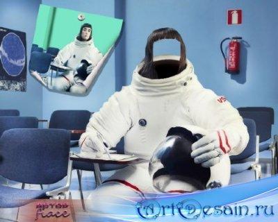 Прикольный шаблон psd - Девушка космонавт