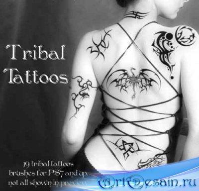 Скачать большой набор кистей для Фотошопа - Татуировки