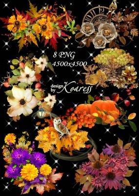 Набор осенних кластеров для фотошопа с цветами, ягодами, листьями - Щедрая  ...