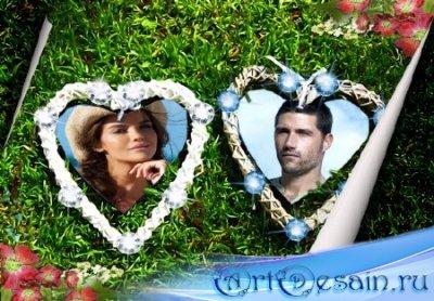Красивая рамка для фотошоп - Два любящих сердца