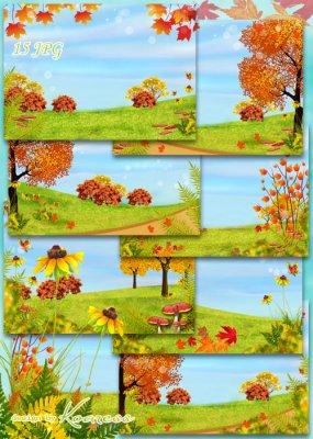 Детские осенние фоны для дизайна с деревьями, цветами, грибами - Краски осе ...
