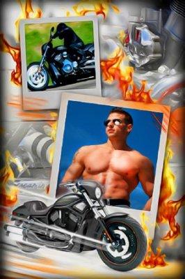Красивая рамка для фотошоп - Любитель мотоциклов