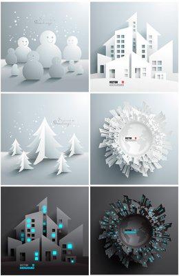 Бумажные города и новогодние элементы в векторе