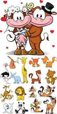 Забавные мультяшные животные в векторе