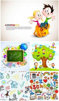 Дети и школьные принадлежности - векторный клипарт