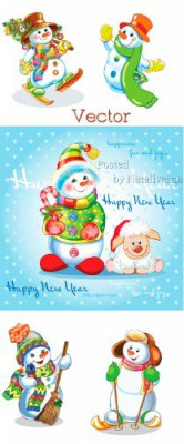 Подборка векторного клипарта – Новогодний Снеговик – Красавчик