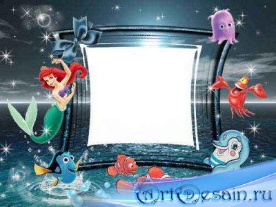 Детская фоторамка – Рыбки и русалка.