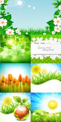 Фоны с зеленой природой  - векторный клипарт