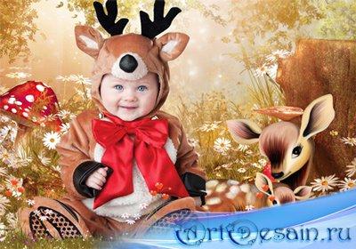 Шаблон  детский – Оленята - малыши