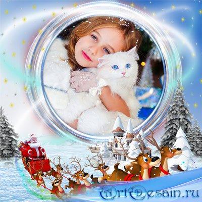 Рамка детская – Мчатся сани, снег скрипит
