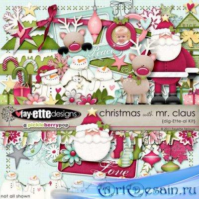 Детский новогодний скрап-комплект - Рождество с Санта Клаусом