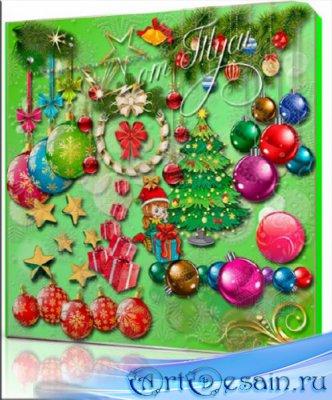 Новогоднее очарование – красоты и блеска преобладание - Клипарт