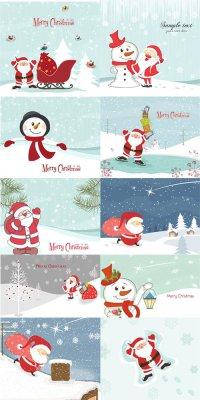 Дед Мороз и снеговик - векторный клипарт