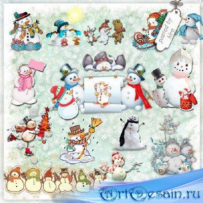 Зимний клипарт - Снеговики