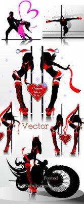 Подборка векторного клипарта – Девушки в красном