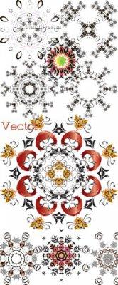 Декоративные узорные снежинки для дизайна в Векторе