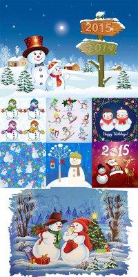 Новогодние снеговики - векторный клипарт