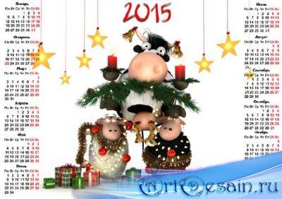 Календарь на 2015 год - Забавные овечки возле необычной елки