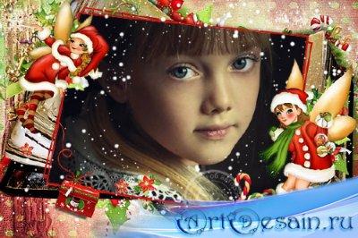 Детская фоторамка - Зимняя сказка для девочек