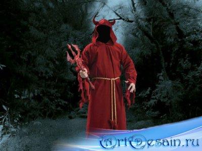 Шаблон для мужчин - Дьявол с трезубцем в руках