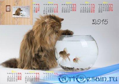 Красивый календарь - Кошка и рыбки