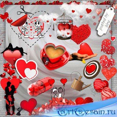 Клипарт ко Дню Святого Валентина - Красные сердца