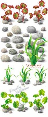 Песчаные камушки и красивые листики в Векторе