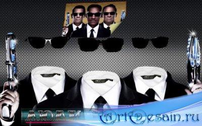 Красивый мужской шаблон для фотошоп - Три агента