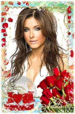 Рамочка для фото ко Дню всех Влюблённых - Лепестки алых роз