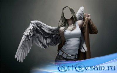 Девушка ангел с крыльями - Шаблон женский