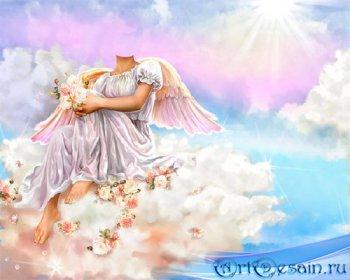 Шаблон для фотомонтажа - Ангел сидя на облаке с цветочками