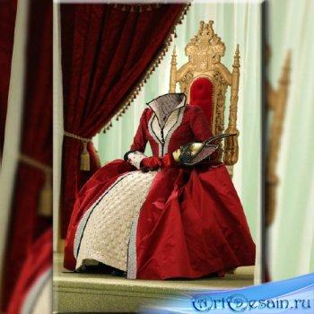 Шаблон для фотомонтажа - Королева в красном наряде