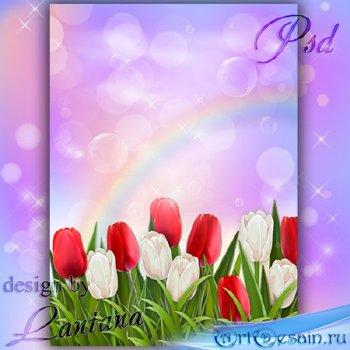 PSD исходник - Пришла весна с тюльпанами
