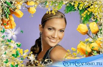 Весенняя праздничная рамочка с желтыми тюльпанами и мимозой - Женский День