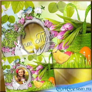 Детская рамка - коллаж к Пасхе - Пасхальное дыхание весны