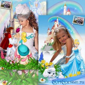 Детские рамки для портретных фото девочек с персонажами мультфильма Золушка