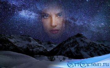 Фоторамка для фотошопа - Усеянное звездами небо зимой в горах