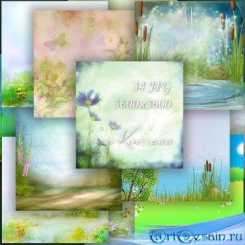 Фоны для дизайна с цветами и полянами - в лесу, на поле, на реке