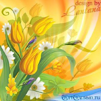 PSD исходник - Вновь весна и ярче солнце красит мир в цвет золотой