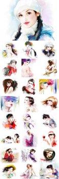 Нарисованные очаровательные образы девушек - растровый клипарт