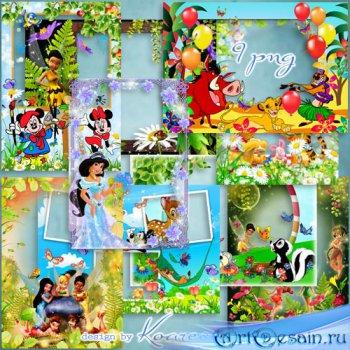 Набор детских png рамок для фотошопа - Мир добрых мультиков Диснея (часть 1 ...