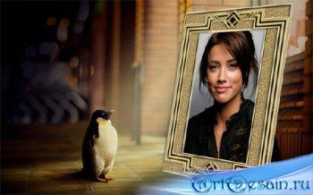 Фото рамка - Маленький пингвин любуется вашим фото