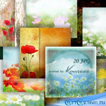 Цветочные ipg фоны для дизайна с луговыми цветами