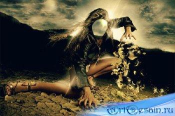 Шаблон для Photoshop - Загадочная девушка