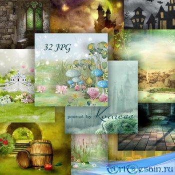 Набор фонов для коллажей - Сказочный мир