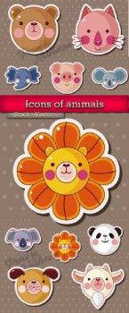 Иконки и животными в Векторе