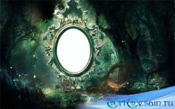 Рамка для фотошоп - Олени в таинственном лесу