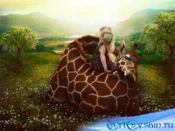 Шаблон psd - Девочка и жираф