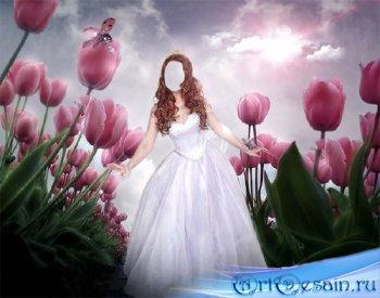 Шаблон для фотошопа - Принцесса среди цветов