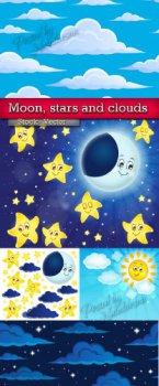Луна, звезды и облака в Векторе